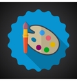Designer color pallete flat icon with long shadow vector