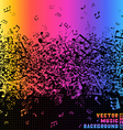 Colourful music notes on black background vector