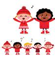 Caroling multicultural kids vector