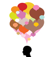 Head silhouette with thought bubbles vector