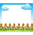 An empty paper template with a garden and clouds vector