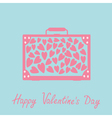 Big suitcase with pink hearts happy valentines day vector