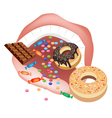 Person eating unhealthy sweet food vector
