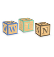Word win written with alphabet blocks vector