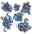 Hand drawn paisley ornament set vector