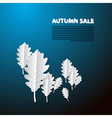 Autumn sale blue background with white oak paper vector