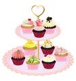 Cupcakes at the tray vector