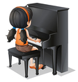 A young girl playing with the piano vector