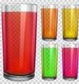 Transparent glasses with transparent colored juice vector