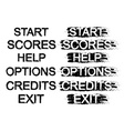 Set of video game menu buttons grunge black and vector