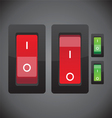 Red and green on off switch button vector