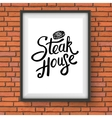 Steak house restaurant sign hanging on brick wall vector