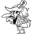 Pirate with parrot for coloring book vector
