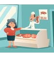 Granny old woman in meat shop talk with seller vector