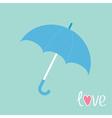 Blue umbrella love card vector