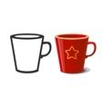 Mug and silhouette of mug vector