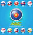 3d flag of asean economic community vector