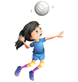 A young lady playing volleyball vector