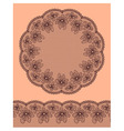 Round lacy frame on beige background vector