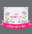 Happy mother day greeting card flower purple vector