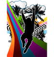Jumping man summer background vector