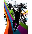 Jumping man summer background vector