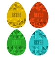 Set of retro eggs made of triangles vector