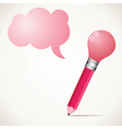 Pink bulb pencil with message bubble stock vector