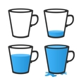 Empty and full mug vector