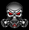 Skull wearing a gas mask vector