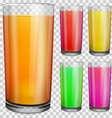 Transparent glasses with opaque colored juice vector