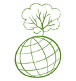 A green tree at the top of a globe vector