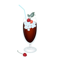 Cherry juice in glass with cherries and ice vector