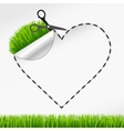 Scissors cut heart sticker green grass vector