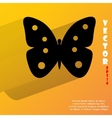Butterfly flat modern web button with long shadow vector