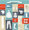 Set of snowboard gear silhouettes vector