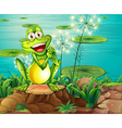 A frog above the stump near the pond vector