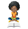 A black girl reading vector