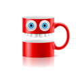 Red mug of two parts with two eyes and teeth vector