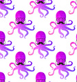 Seamless pattern with octopus colorful mosaic vector