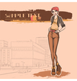 Urban view and slender sexy girl vector