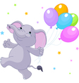 Baby elephant with balloons vector