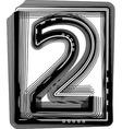 Striped font number 2 vector