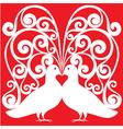 Whitekissing doves heart symbol love concept vector