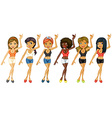Different girls dancing vector