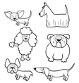 Coloring book with cartoon dogs vector