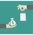 Hands with money and shopping bag exchanging vector