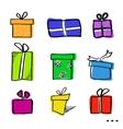 Sketch gift boxes set vector