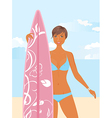 Girl with surfboard vector