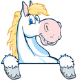 Happy white and blond horse over a white sign vector